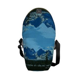 Mountain Peaks digital art - John Muir quote Messenger Bags