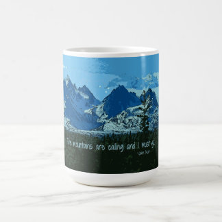 Mountain Peaks digital art - John Muir quote Coffee Mugs