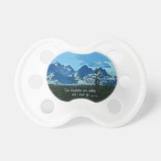 Mountain Peaks digital art - John Muir quote Baby Pacifiers