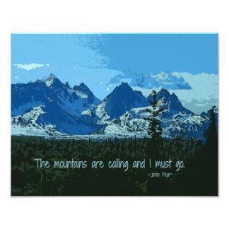 Mountain Peaks digital art - John Muir quote Photo