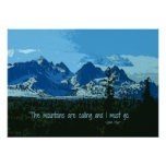 Mountain Peaks digital art - John Muir quote Posters