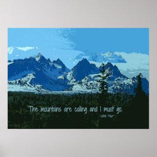 Mountain Peaks digital art - John Muir quote Poster