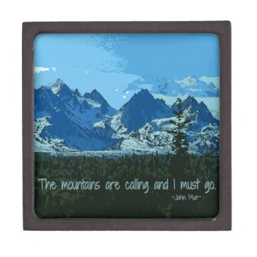 Mountain Peaks digital art - John Muir quote Premium Gift Box