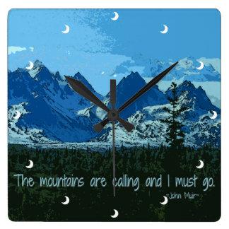 Mountain Peaks digital art - John Muir quote Square Wall Clock