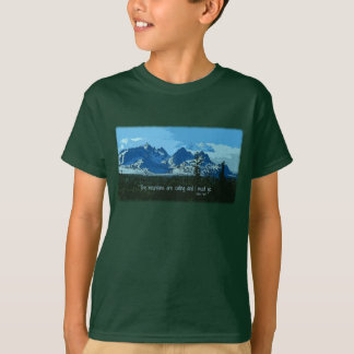 Mountain Peaks digital art - John Muir quote T-Shirt