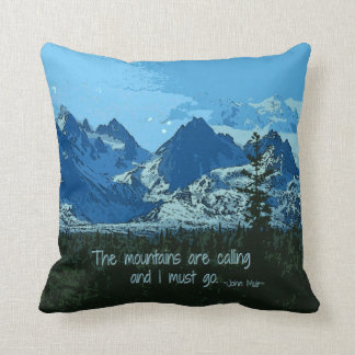 Mountain Peaks digital art - John Muir quote Throw Pillow