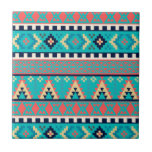 """Mountain Peaks Geometric Tribal Pattern Ceramic Tile<br><div class=""""desc"""">From our SANTE FE STYLE line of 10 mix and match tribal patterns in earthy hues. Mountain Peaks features geometric stripes in soft, earthy shades of turquoise blue, salmon pink and earthy gold. A modern take on the boho trend. Check our store for the full range of mix and match...</div>"""