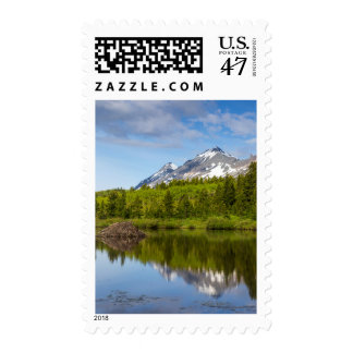 Mountain Peaks Reflect Into A Beaver Pond Postage