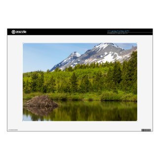 Mountain Peaks Reflect Into A Beaver Pond Skins For Laptops