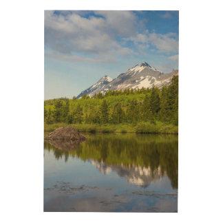 Mountain Peaks Reflect Into A Beaver Pond Wood Wall Art