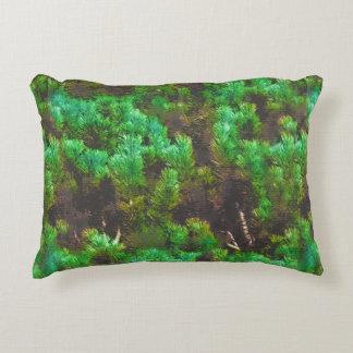 Mountain Pine Fantasy Pattern - Vivid Green Accent Pillow