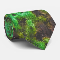 Mountain Pine Fantasy Pattern - Vivid Green Neck Tie
