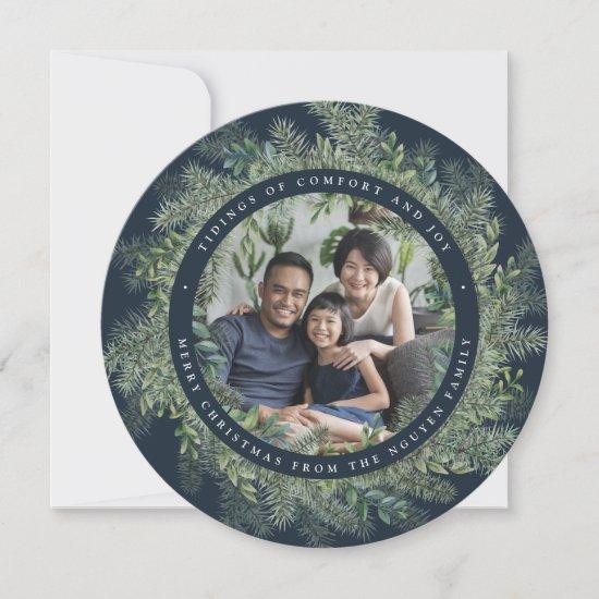 Mountain Pine | Round Holiday Photo Card