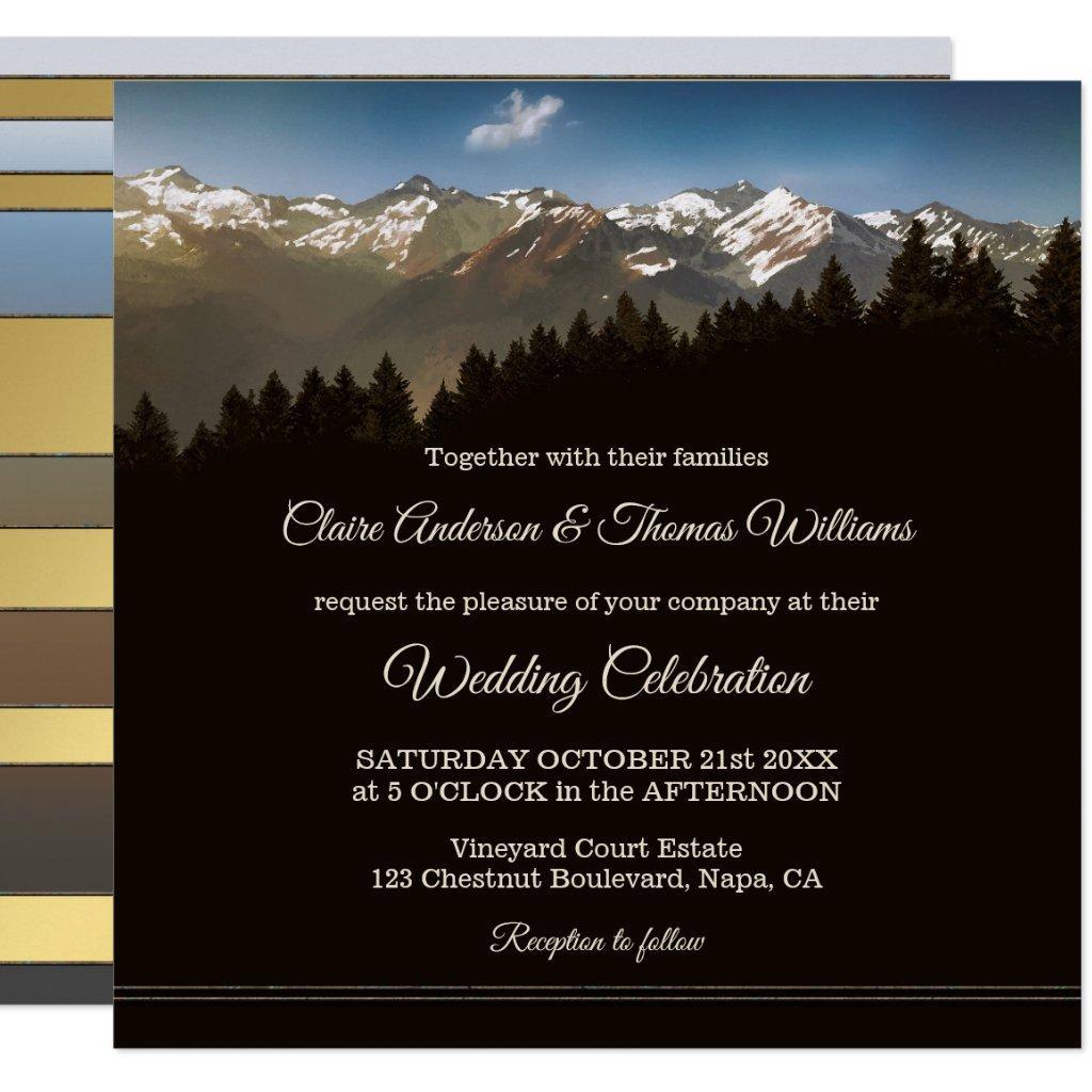 Mountain Pine Trees Wedding Invitation