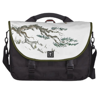 Mountain Pine with Moonrise, Sumi-e ink painting Laptop Computer Bag