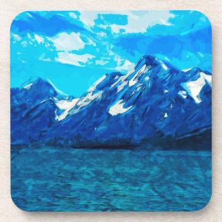 Mountain Range Abstract Impressionism Coaster