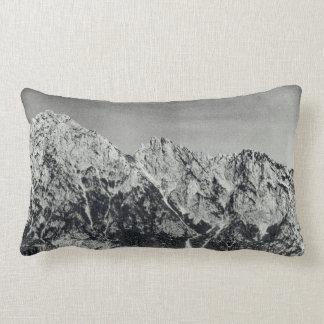 Mountain Range Black & White Snow Covered Scene Lumbar Pillow