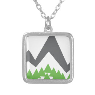 Mountain Range Forest Icon Square Pendant Necklace