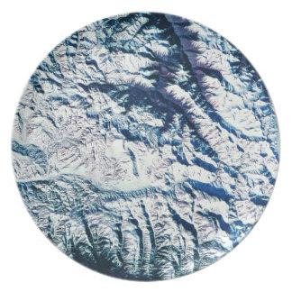 Mountain Range from Satellite Dinner Plate