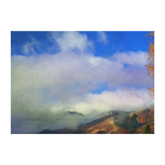 Mountain Range in Clouds Stretched Canvas Print