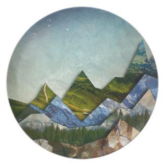 Mountain Range Melamine Plate