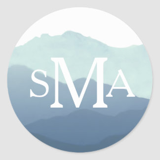 Mountain Range Monogram Envelope Seal Round Sticker