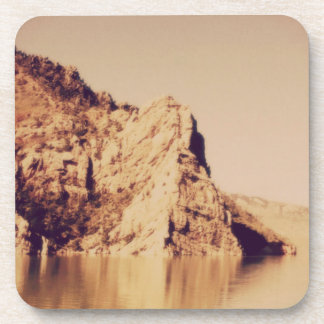 Mountain Range Near Water Nostalgic Postcard Image Coaster