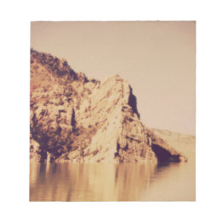 Mountain Range Near Water Nostalgic Postcard Image Notepad