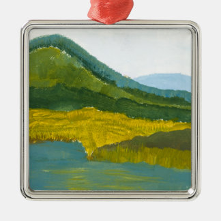 Mountain Reflection Square Metal Christmas Ornament