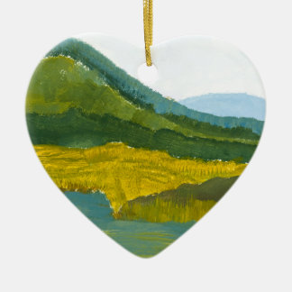 Mountain Reflection Double-Sided Heart Ceramic Christmas Ornament