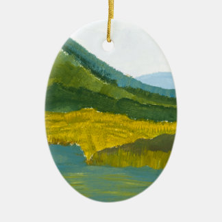 Mountain Reflection Double-Sided Oval Ceramic Christmas Ornament