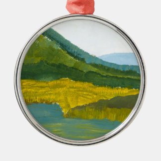 Mountain Reflection Round Metal Christmas Ornament