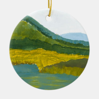 Mountain Reflection Double-Sided Ceramic Round Christmas Ornament