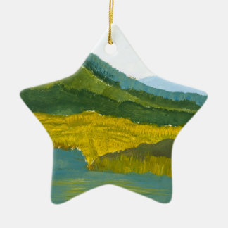 Mountain Reflection Double-Sided Star Ceramic Christmas Ornament