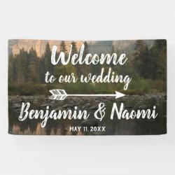Mountain Reflection Wedding Welcome Banner
