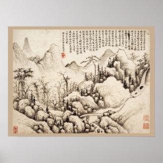 """Mountain Retreat"" Chinese vintage art print"