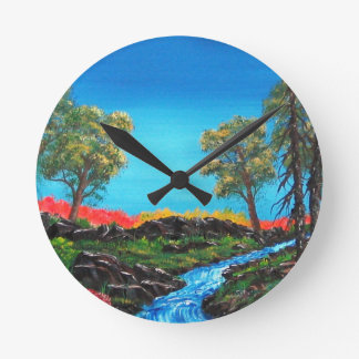 Mountain River Colorful Abstract Painting Round Clock
