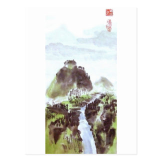 Mountain River Valley Chinese Landscape Postcard