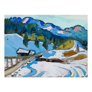 Mountain Road In Snow Poster