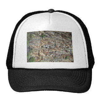 Mountain Rock Wall with Tiny Yellow Flowering Plan Trucker Hat