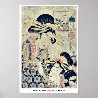 Mountain rose by Utamaro II, d. ca. Posters
