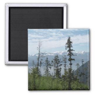 Mountain scene 2 inch square magnet