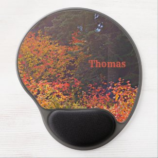 Mountain scene ergonomic gel mouse pad, your name gel mouse pad