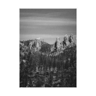 Mountain Scene in B/W Canvas Print