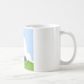 Mountain Scenery Grass Tree Cloud Design Styles Coffee Mug