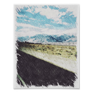 Mountain Scenery Pencil Poster