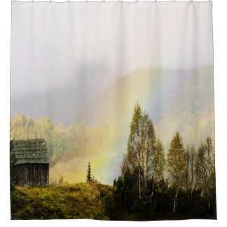 mountain shed with rainbow shower curtain