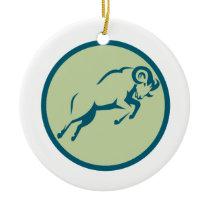 Mountain Sheep Jumping Circle Icon Ceramic Ornament