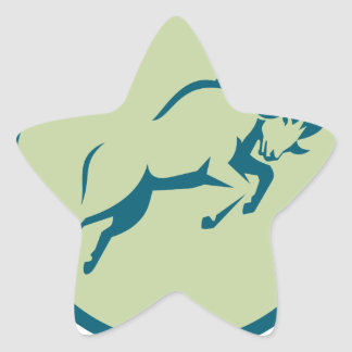 Mountain Sheep Jumping Circle Icon Star Sticker