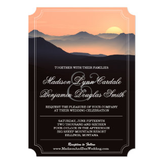 Mountain Silhouette Evening Sunset Wedding Invites